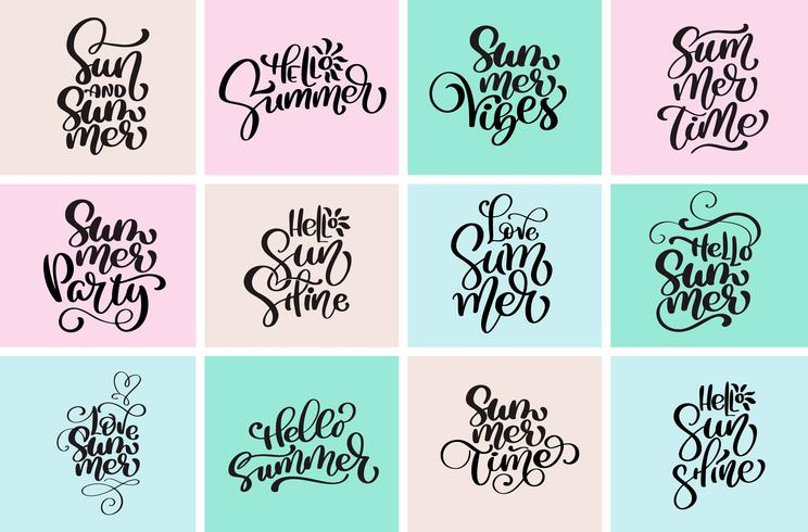 Stel typografische hallo zomerontwerpen in