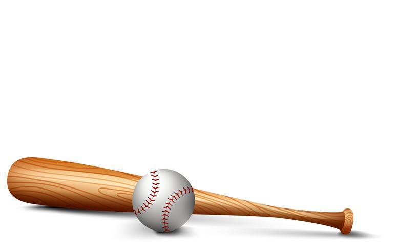 Wooden bat and baseball