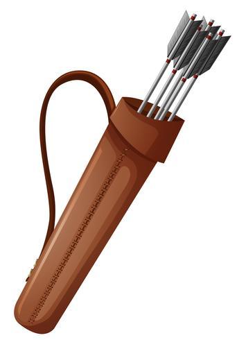 Bågskytte pilar i brun väska