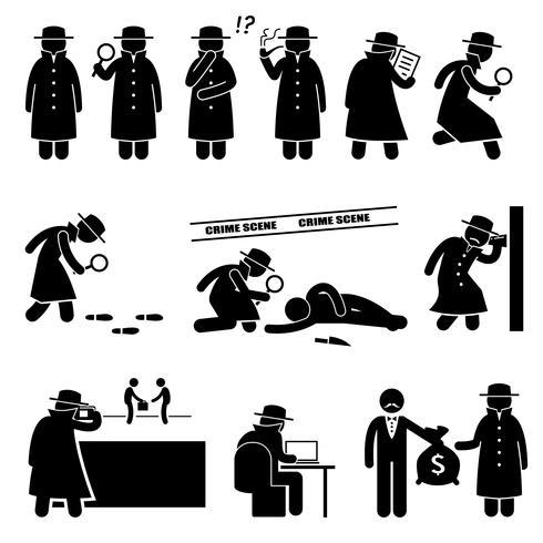 Icônes de pictogramme de détective espion détective privé stick figure. vecteur