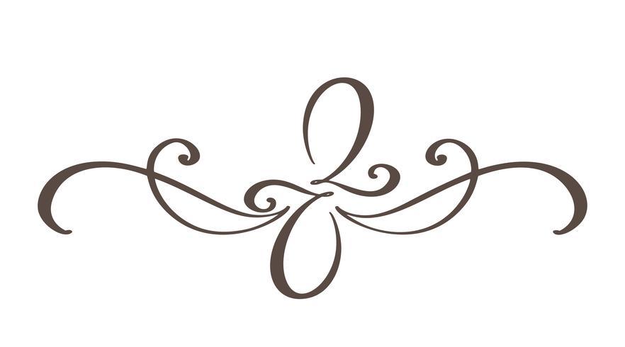 Hand drawn border flourish separator Elementos de designer de caligrafia. Vector vintage ilustração isolado no fundo branco