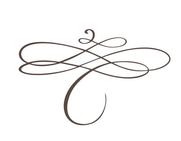 Handdragen blomsterseparator Kalligrafi designelement