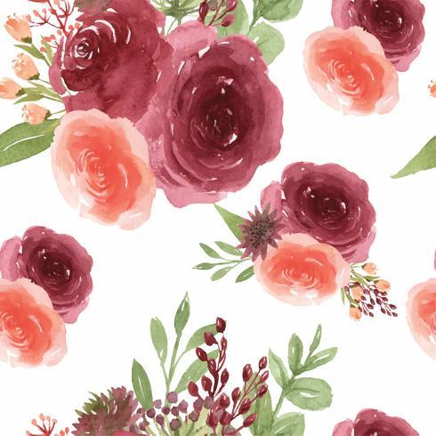 Pattern Seamless Floral Lush Watercolour Style Vintage Textile