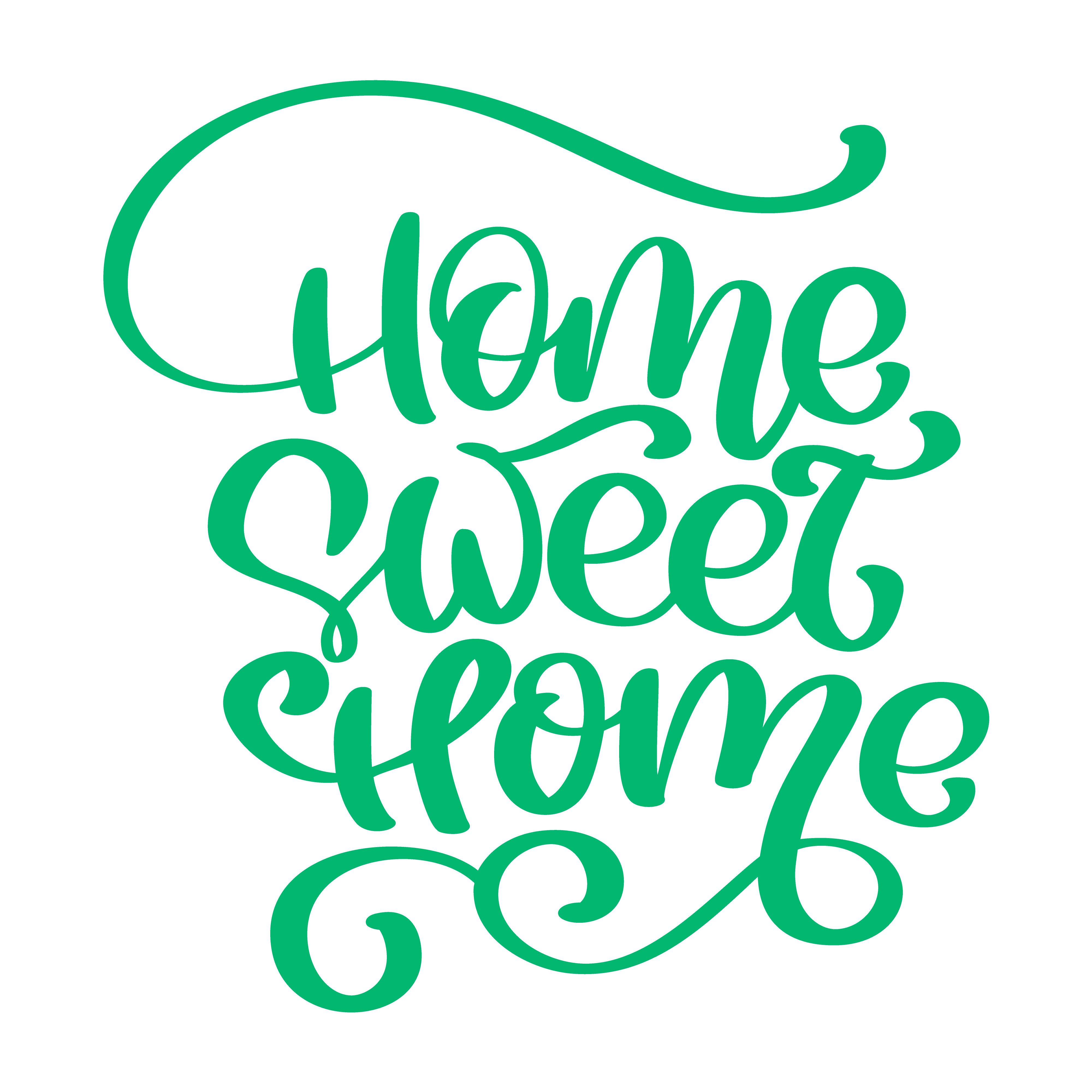 Green Calligraphic quote Home sweet home text. Hand ...