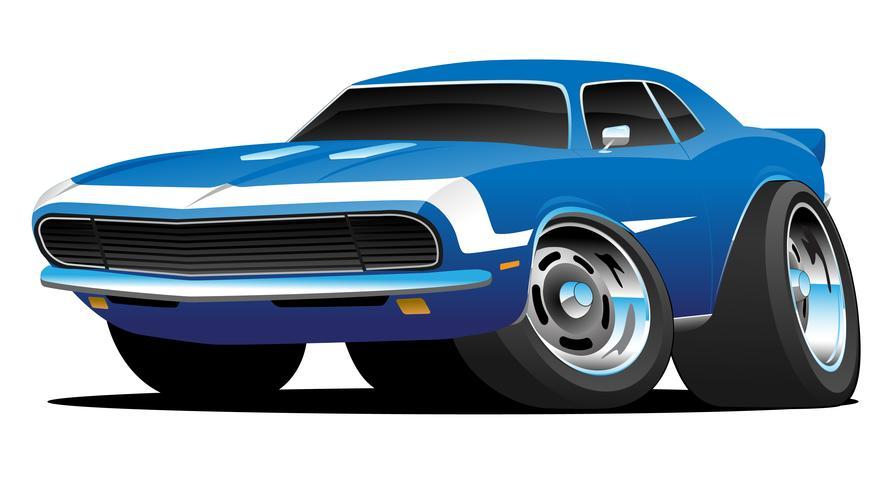 Klassisches Sechziger-Art-Amerikaner-Muskel-Auto-heiße Rod-Karikatur-Vektor-Illustration