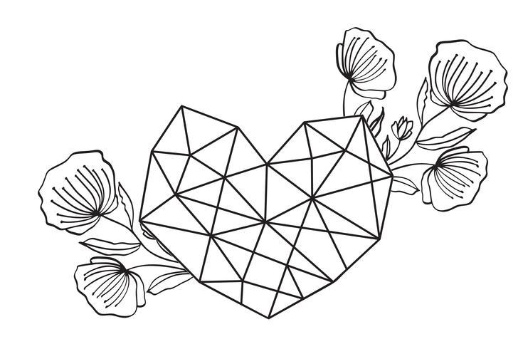 Cornice floreale cuore geometria floreale. Vector foglie e fiori in vignetta carina isolato su sfondo nero. Matrimonio, decorazioni in stile San Valentino