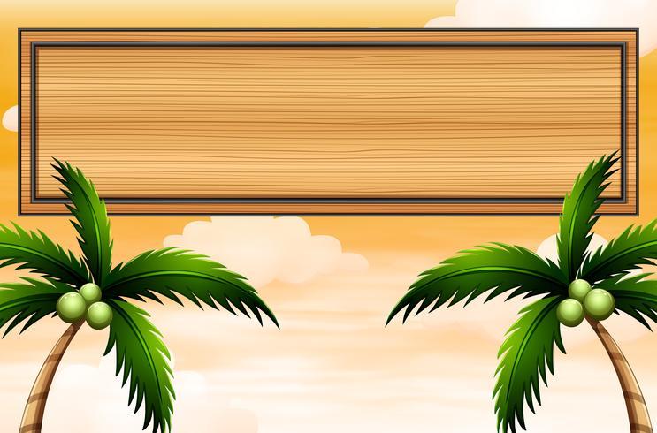 Un letrero de madera vacío con árboles de coco vector