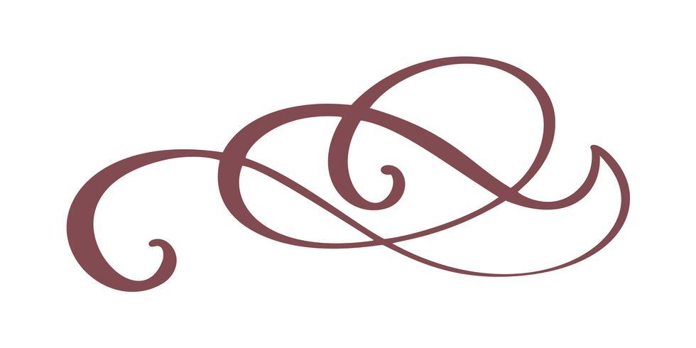 Hand getrokken rand bloeien scheidingslijn Kalligrafie ontwerper elementen. Vector uitstekende huwelijksillustratie die op witte achtergrond wordt geïsoleerd