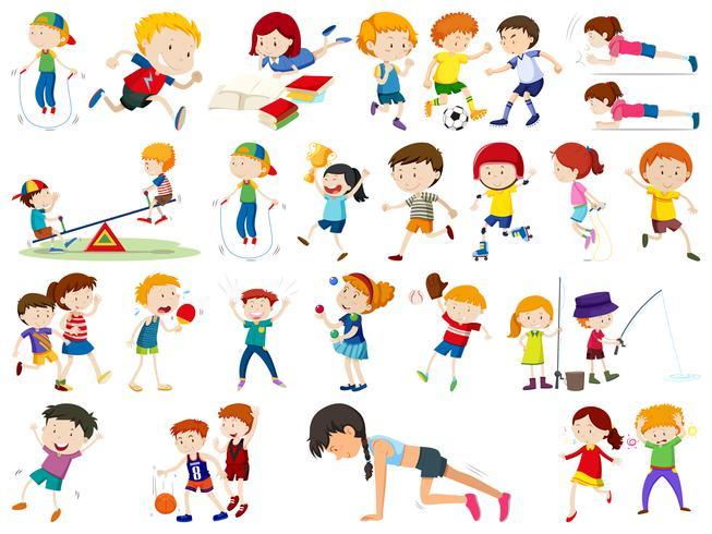 Conjunto de ejercicio niños vector