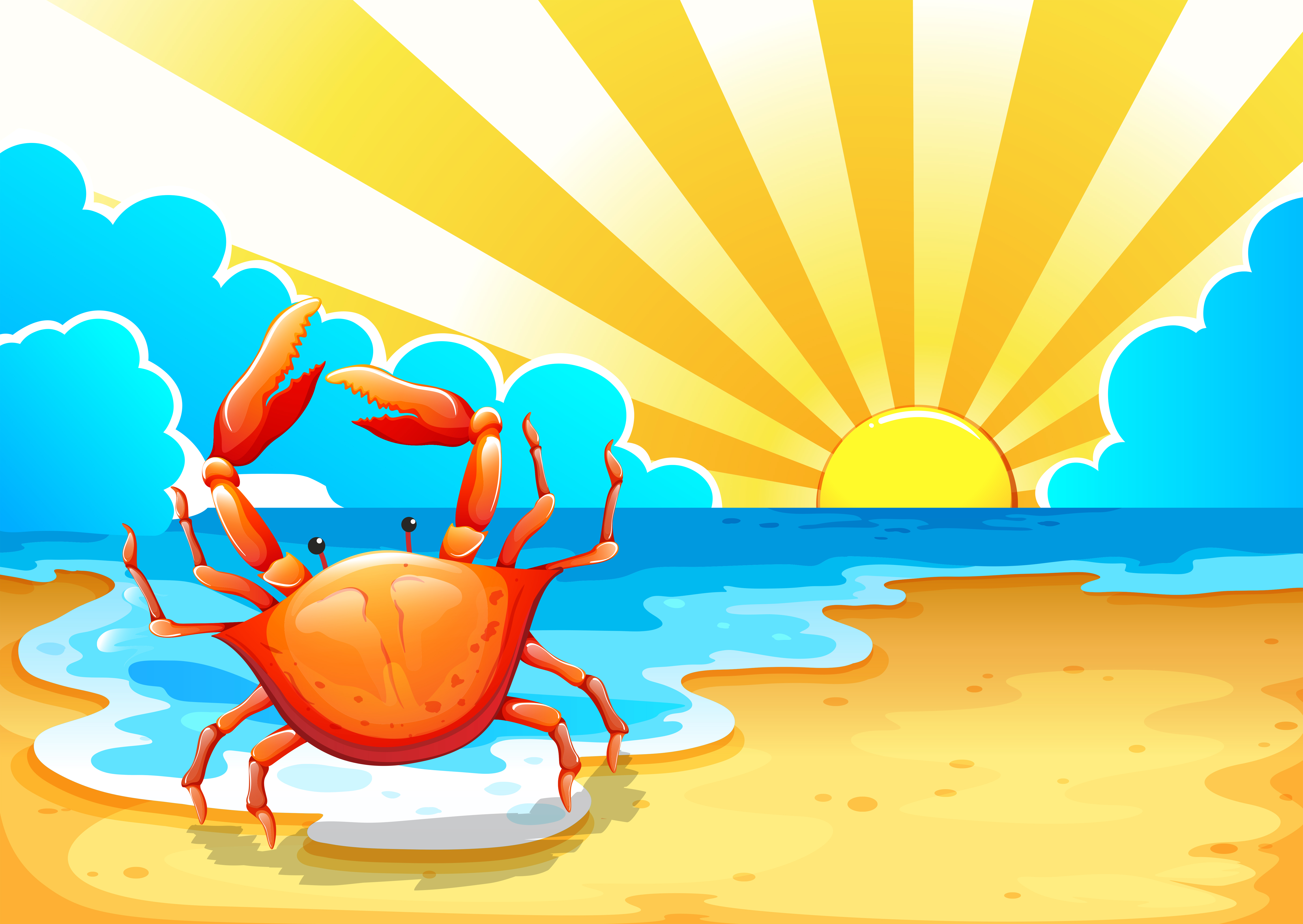 A beach with a crab - Download Free Vectors, Clipart ...