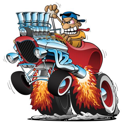 Highboy Hot Rod Race Illustration de dessin animé voiture