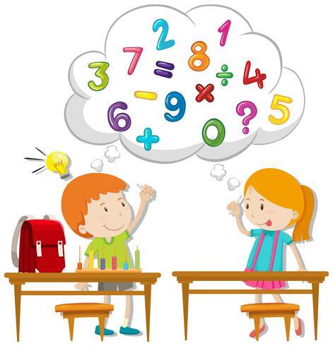 Två barn beräknar i klassrummet