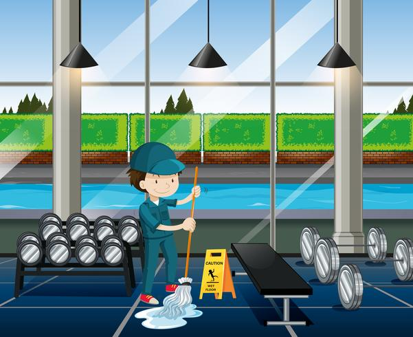 Janitor cleaning the fitness room vector