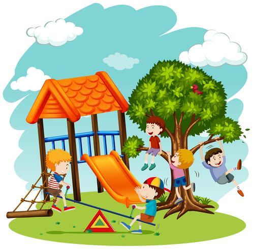 Muchos niños jugando en el patio de recreo.