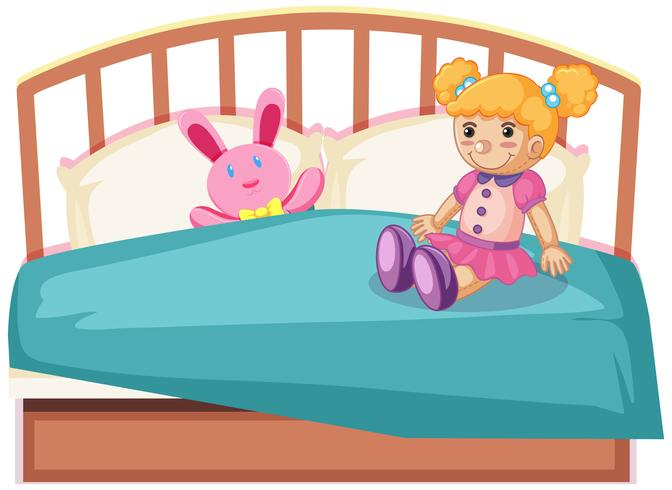 cute toys on bed