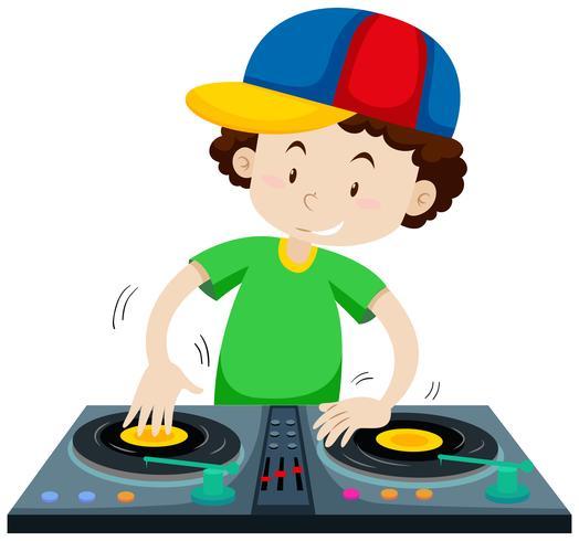 DJ che suona musica dalla macchina del jockey dei dischi