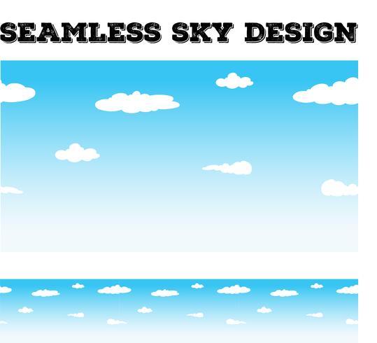 Het naadloze achtergrond desing met hemel en wolken