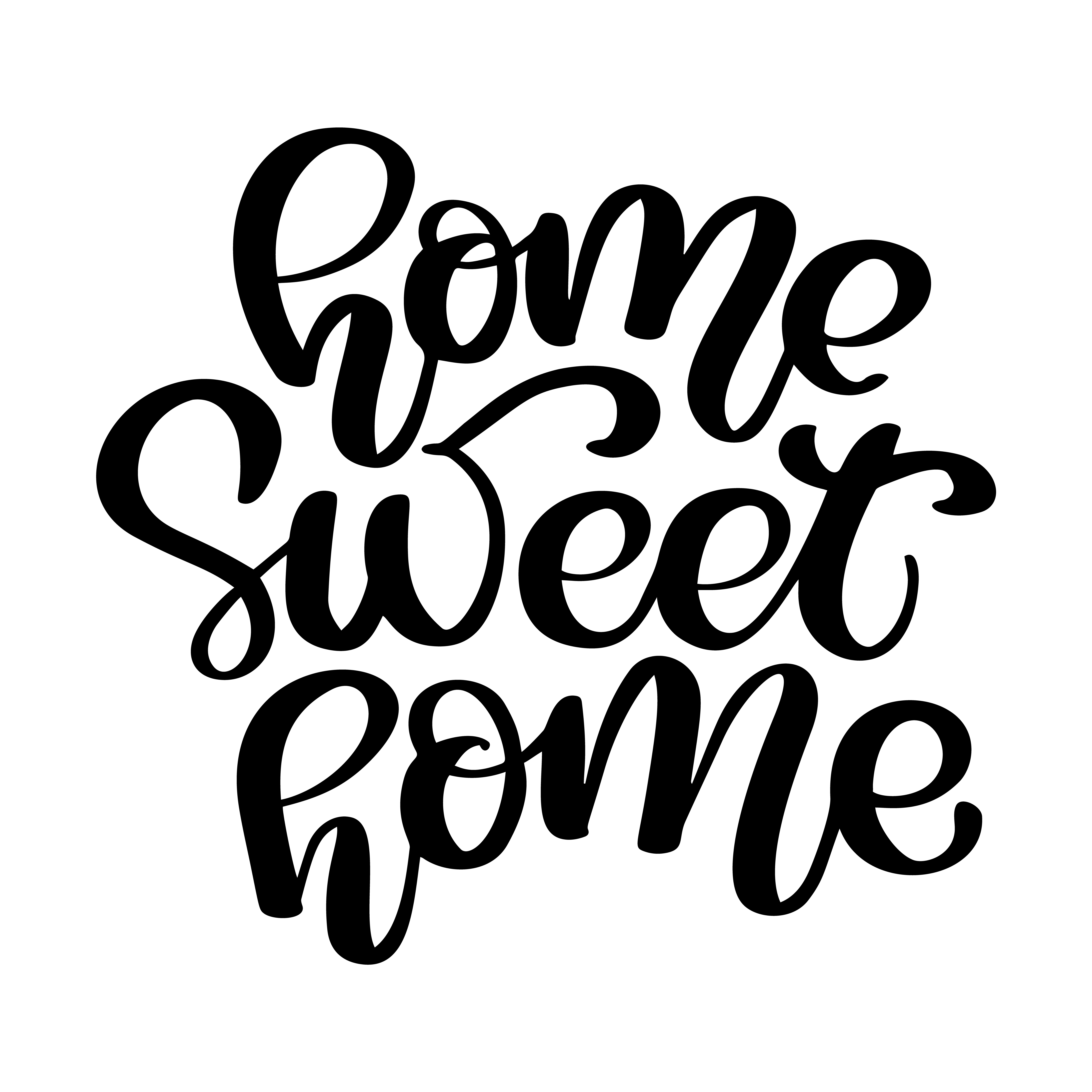 Calligraphic quote Home sweet home. Hand lettering ...
