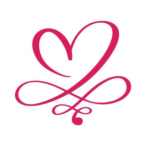 Corazón amor signo para siempre para el feliz día de San Valentín. Símbolo infinito romántico vinculado, unirse, pasión y boda. Plantilla para la camiseta, tarjeta, cartel. Elemento plano de diseño. Ilustración vectorial