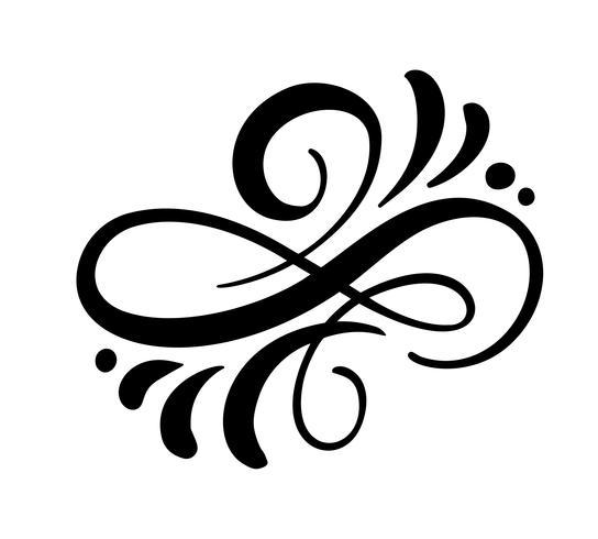 Het vector bloemenkalligrafieelement bloeit, verdeler voor de grens van de paginadecoratie en de werveling van de kaderontwerp. Decoratief silhouet voor huwelijkskaarten en uitnodigingen. Vintage bloem
