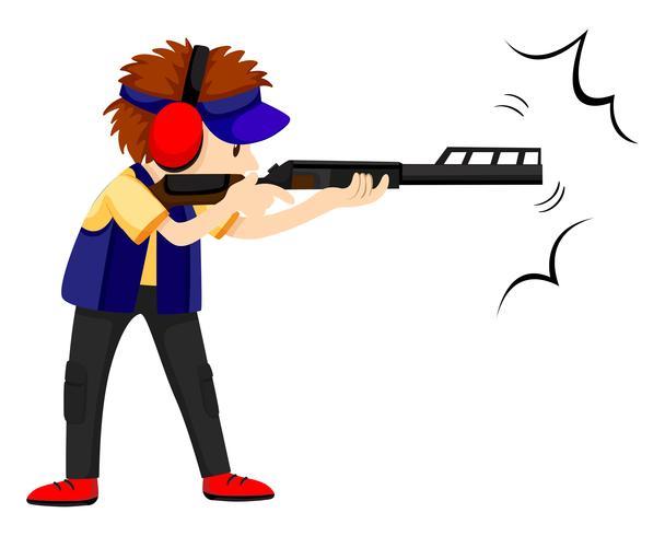 Atleta dell'uomo che spara con la pistola del fucile