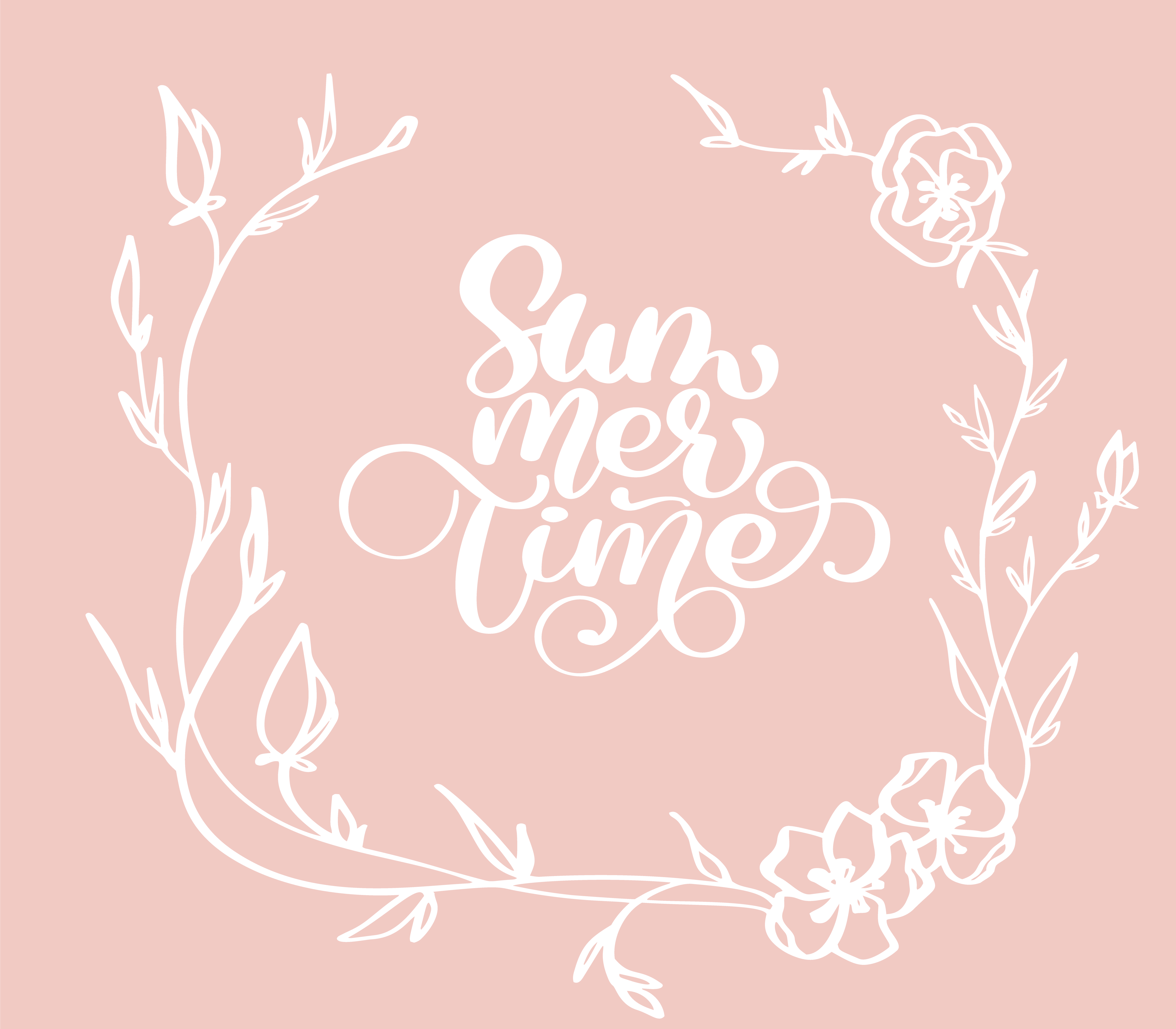 Hand Drawn Summer Time With Flowers Decorative Wreath Doodle Sketch Lettering Vector Logo Illusrtation Modern Calligraphy Lettering On White Illustration Stock Vector Download Free Vectors Clipart Graphics Vector Art