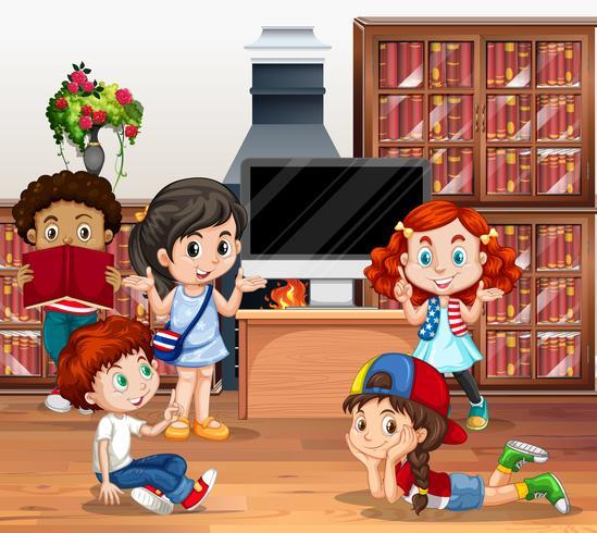 Muchos niños leyendo libros en la biblioteca.