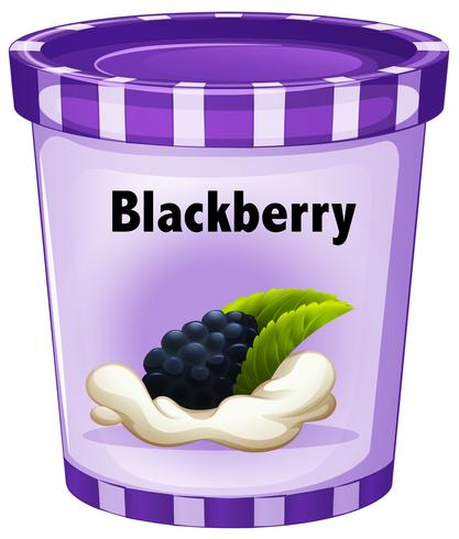 Blackberry yogurt in purple cup