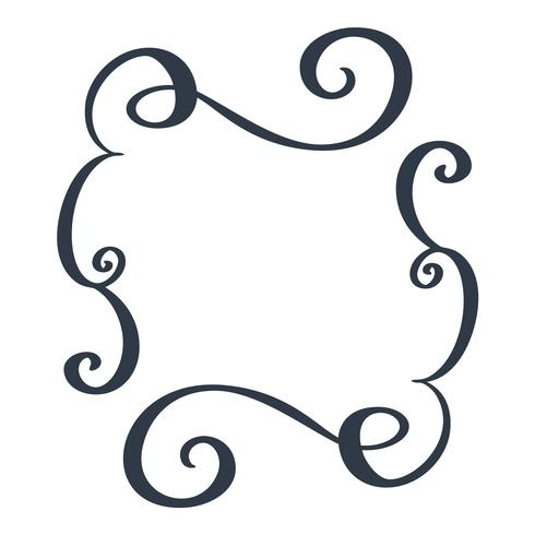 Marcos decorativos y borde estándar dibujado a mano separador florecer elementos de diseño de caligrafía. Ilustración de la boda de la vendimia del vector aislada en el fondo blanco