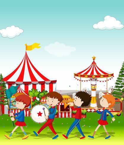 Band speelt in het circus vector