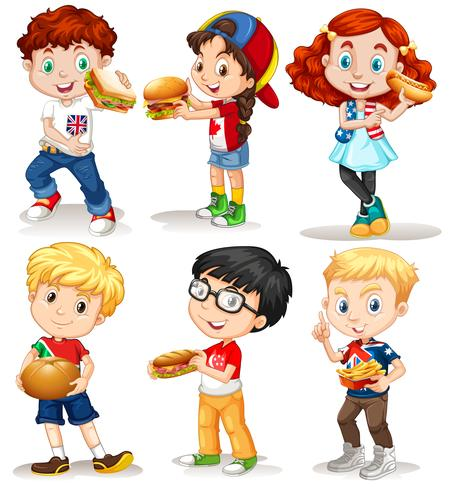 Boys and girls with fastfood vector