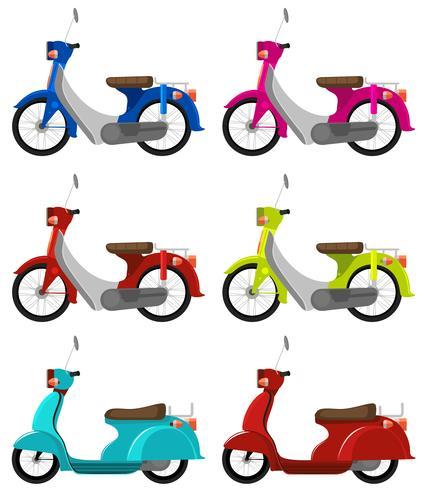 Six scooters colorés