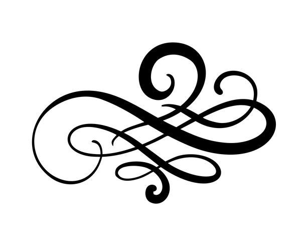 Vektor blommig kalligrafi element blomstra, delare för sida dekoration och ram design illustration virvla runt. Dekorativ silhuett för bröllopskort och inbjudningar. Vintage blomma