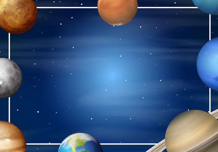 Solar system cartoon frame