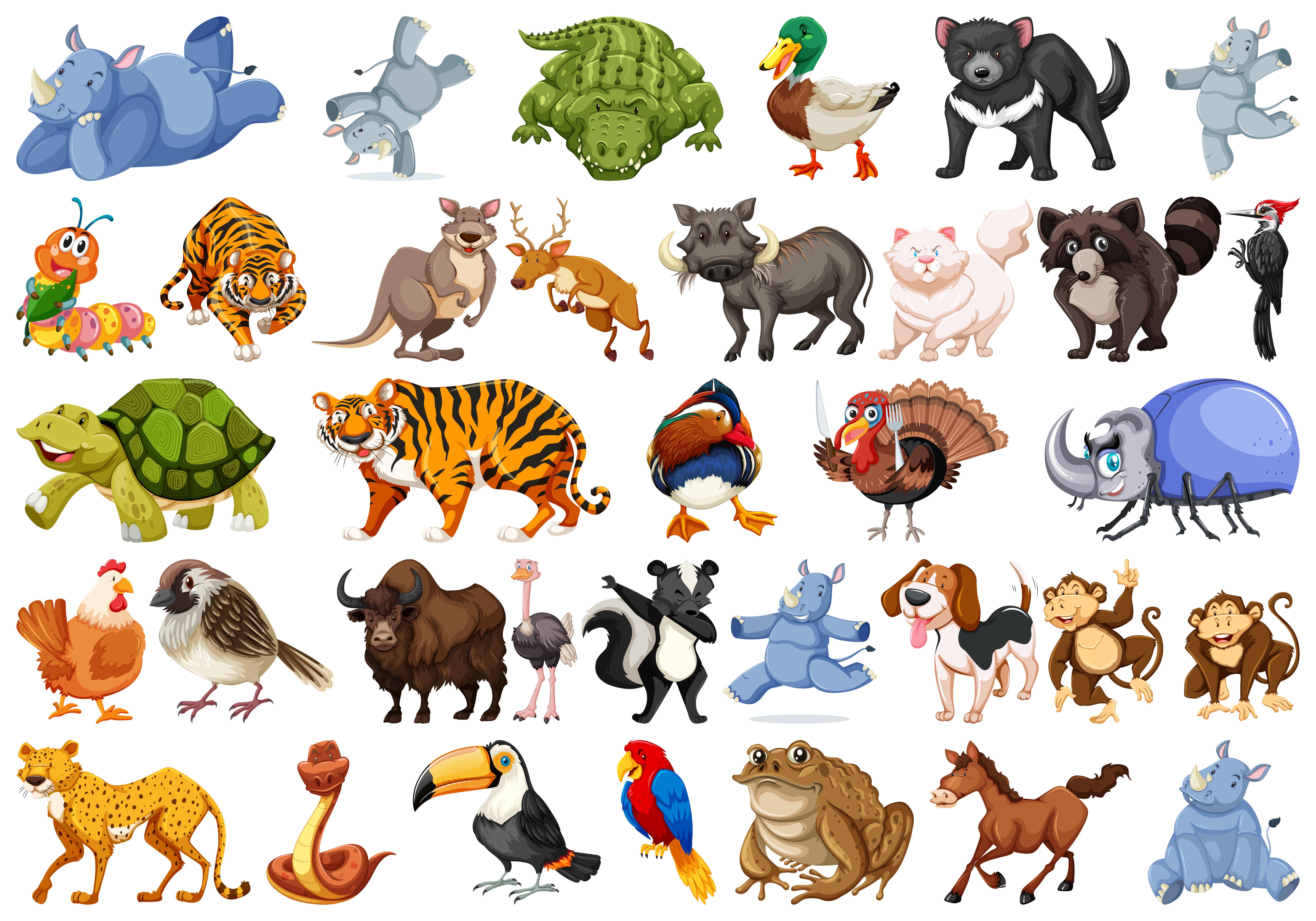 Set of animals sets - Download Free Vectors, Clipart ...