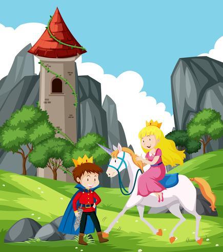 Escena de fantasía con príncipe y princesa. vector