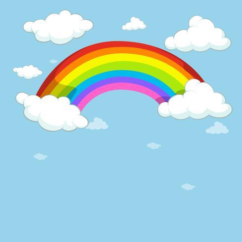 Ciel bleu avec arc en ciel coloré