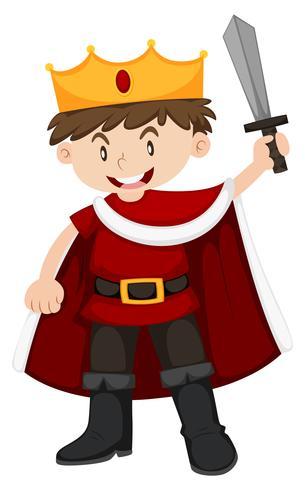 Disfraz de niño en rey con espada.