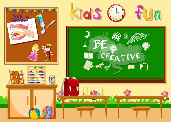 Kindergarten Klassenzimmer ohne Kinder vektor