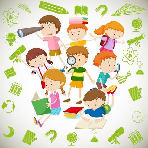 Grupp av barn som läser och lär sig