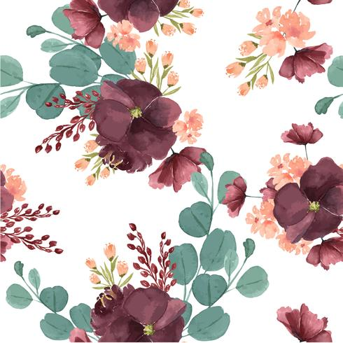 Pattern seamless  floral lush watercolour style vintage textile, flowers aquarelle isolated on white background. Design flowers decor for card, save the date, wedding invitation cards, poster, banner.