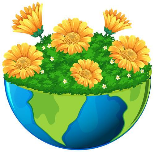 Monde avec des fleurs jaunes dans le jardin