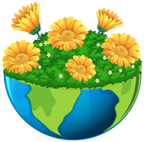 Mondo con fiori gialli in giardino