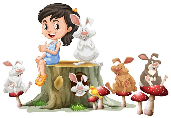 Girl and cute rabbits on log
