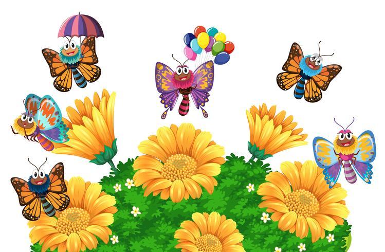 Borboletas voando ao redor do jardim