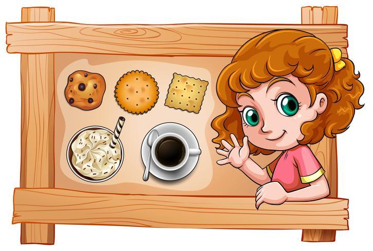 Een lijst met een jong meisje met drankjes en koekjes