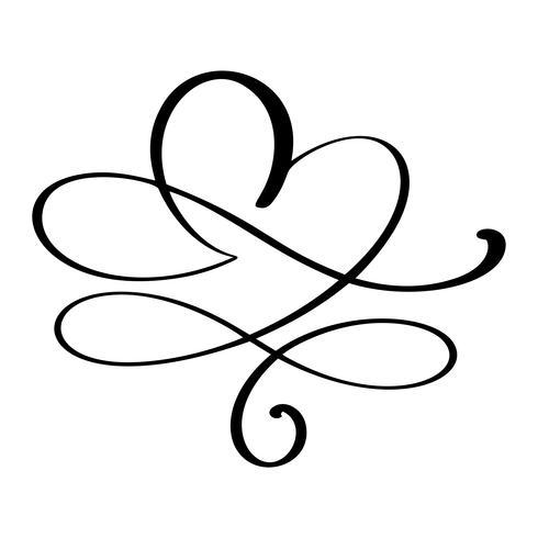 Dibujado a mano amor frontera florecer corazón separador elementos de diseño de caligrafía. Vector de boda vintage, ilustración del día de San Valentín aislada sobre fondo blanco