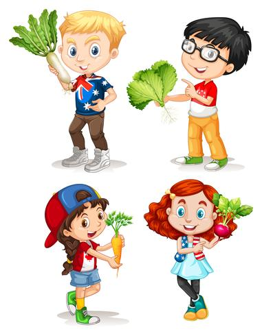 Boys and girls with fresh vegetables vector