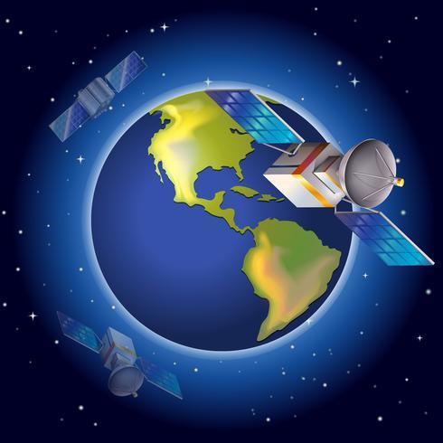 Satellites surrounding the planet