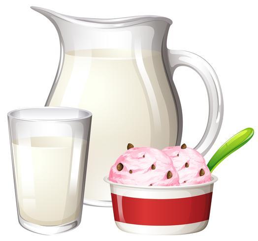 Sorvete de leite no fundo branco